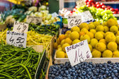 Fruits and vegetables for sale at local market in Poland. — Stock Photo