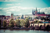 View on Prague castle from Charles Bridge  — Stock Photo