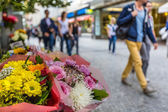Flower stand in the center of Prague — Stock Photo