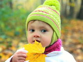 Fun baby in hat with maple leaf on autumn yellow background outd — Stock Photo