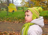 Fun baby looking on yellow leaf on autumn bright nature backgrou — Stock Photo