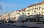 Prague houses panorama on Wenceslas Square under day blue sky — Stock Photo