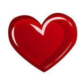 Red heart illustration on white background — Stock Photo