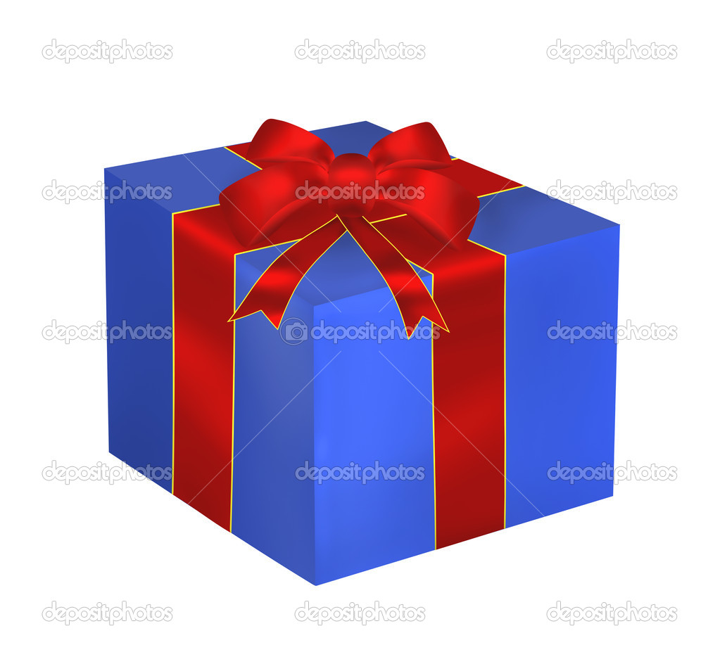 Blue gift with red ribbon and bow isolated on the white background — Stock Photo #17008115