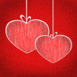 Heart balls on ribbons on red background. Bright card illustrati - Foto de Stock  