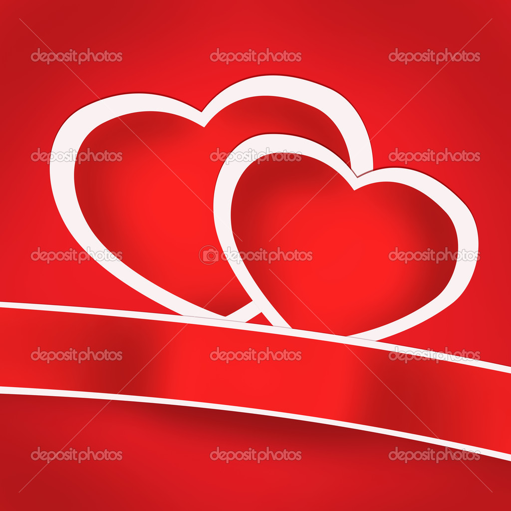Valentine card with red hearts and ribbon with empty space illustration — Stock Photo #17423147