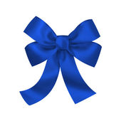 Blue gift bow with ribbons isolated on white background — Stock Photo