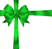 Gift green ribbon and bow isolated on white background. Illustra — Stock Photo