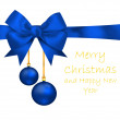 Stock Photo: Blue balls hanging on ribbon bow isolated on white background. I