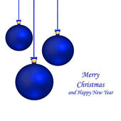 Blue Christmas balls hanging with ribbon bows isolated on white — Stock Photo
