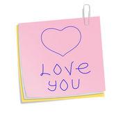 Corazón en notas de palo con clip aislado en blanco. san valentín amor — Foto de Stock