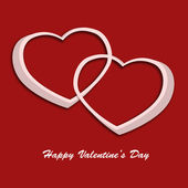 Valentine day card with two hearts on red background. Illustrati — Stock Photo
