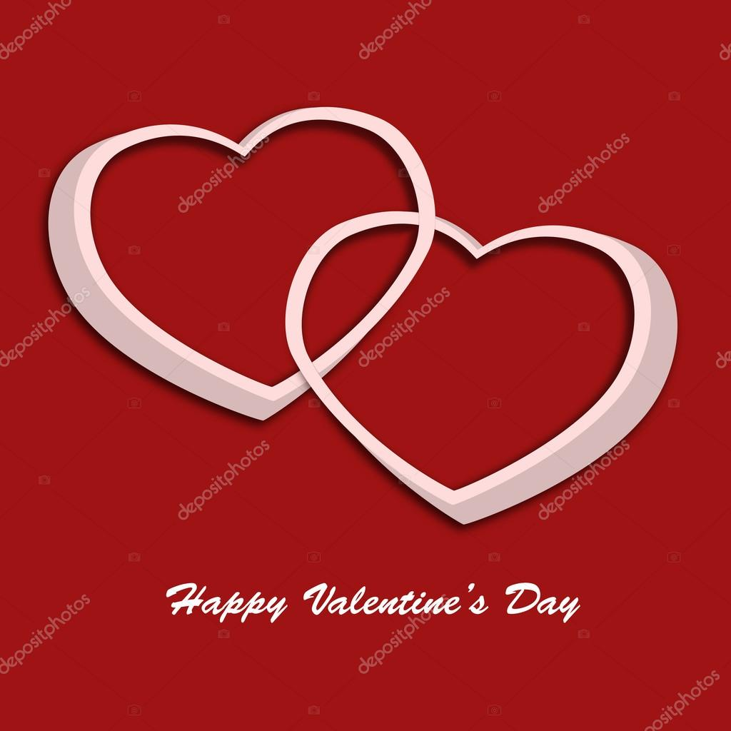 Valentine day card with two hearts on red background. Illustration  Stock Photo #18562547