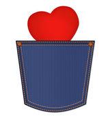 κόκκινη καρδιά στην τσέπη τζιν που απομονώνονται σε λευκό φόντο. ευτυχής da — Φωτογραφία Αρχείου