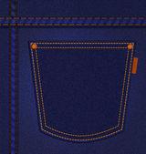 Zak op jeans achtergrond. blauwe denim. illustratie — Stockfoto
