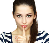 Secret woman. Female showing hand silence sign isolated on white — Stock Photo
