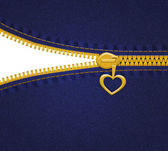 Jeans with heart zipper on blue background with empty space — Stock Photo