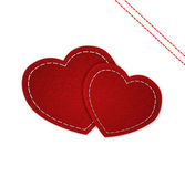 Jeans red hearts isolated on white background — Stock Photo