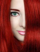 Beauty woman with red bright hair. Closeup portrait of style fem — Stock Photo