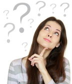 Thinking beautiful woman with question sign under head isolated — Stock Photo