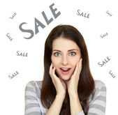 Shocked wonan with opened mouth with sale text sale above isolat — Stock Photo