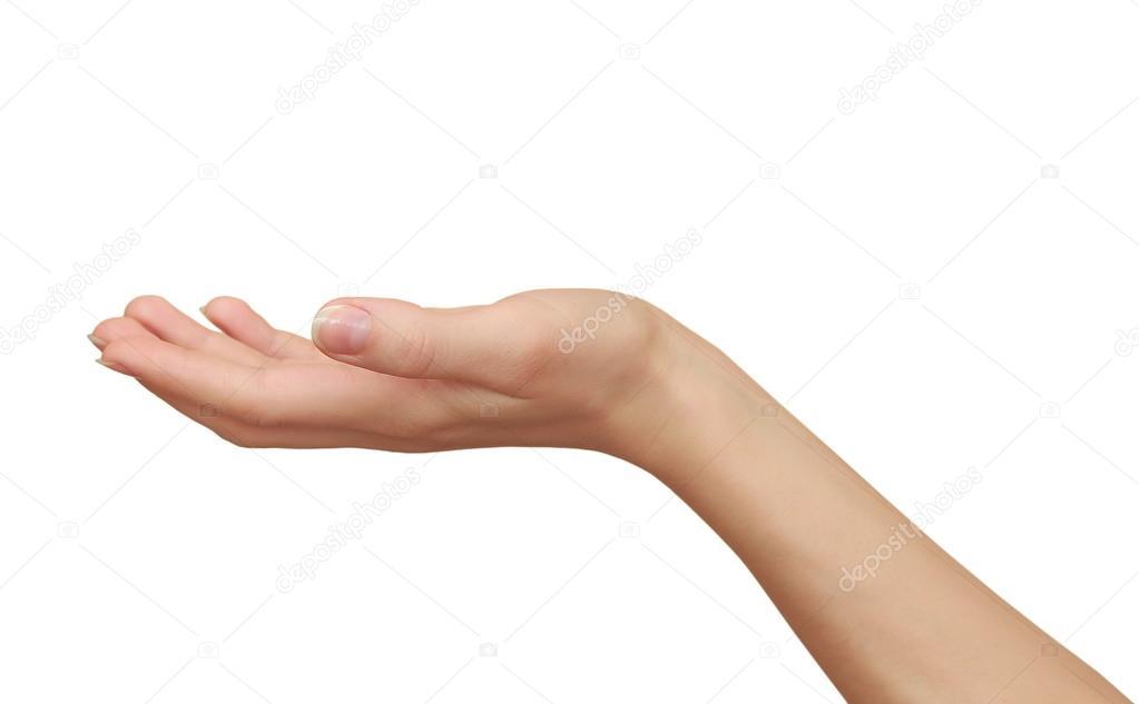 mano di donna che tiene qualcosa di vuoto isolato su sfondo bianco foto stock nastia1983. Black Bedroom Furniture Sets. Home Design Ideas