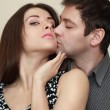 Royalty-Free Stock Photo: Fashion sexy couple hugging and kissing. Closeup portrait