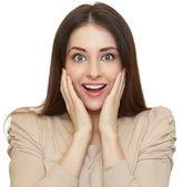 Mooie vrouw met geopende mond op zoek geschokt. geïsoleerde poort — Stockfoto