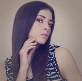 Beautiful makeup woman with sexy look. Closeup art portrait — Stok fotoğraf