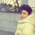 Beautiful baby girl in hat looking. Closeup portrait — Stock Photo