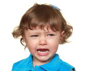 Crying child looking sad and unhappy isolated on white backgroun — Stock Photo