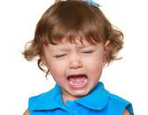 Crying unhappy child with opened mouth isolated on white backgro — Stock Photo