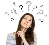 Thinking woman with many question marks above the head isolated — Stock Photo