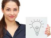 Bandera holding empresarial mujer idea bombilla signo aislado en wh — Foto de Stock
