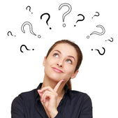 Thinking smiling woman with questions mark above head looking up — Stock Photo