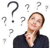 Thinking business woman looking up on many questions mark isolat — Stock Photo