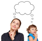 Thinking young woman and cute child concept with bubble above is — Stock Photo