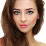 Beautiful female makeup model looking calm. Closeup isolated por — Stock Photo