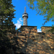 Petrin tower in Prague near stone wall and among the trees under — Stock Photo