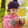 Baby girl looking on maple leaf holding in hands on autumn backg — Stock Photo