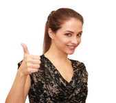 Beautiful happy woman showing thumb up sign isolated on white ba — Stock Photo