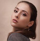 Sexy makeup woman looking hot. Closeup portrait — Stock Photo
