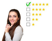 Thinking customer woman choosing five star rating. Good feedback — Stock Photo