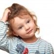 Cute small kid girl thinking and looking. Isolated potrait — Stock Photo