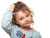 Thinking beautiful girl looking in camera. Closeup isolated portrat — Foto Stock