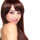 Beautiful smiling woman with long hair looking. Closeup isolated portrait — Stock Photo
