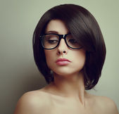 Sexy beautiful woman with short hair in glasses. Closeup vintage portrait — Stock Photo