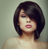 Makeup beautiful woman face with short hair style. Vintage portrait — 图库照片