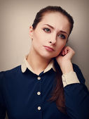 Portrait of a concentrated business young woman looking unhappy. Vintage — Stock Photo
