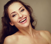 Beautiful makeup woman with long hair toothy smiling. Closeup — Stock Photo